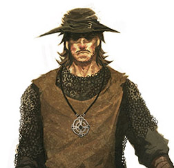 A portrait of a man in rustic garb over top of mail armor, with a brimmed hat, a walking stick, and a mace on his belt.