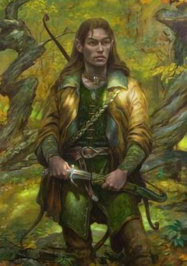 A male elf drawing a short sword while in a forest scene and dressed in green.