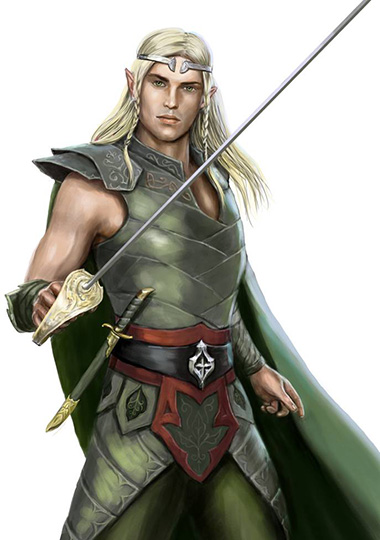 A male elf drawing a short sword while in a forest scene and dressed in green. Artwork credit https://imgur.com/gallery/Coi19