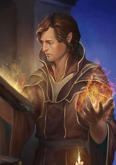 A male elf reading a magic book while summoning fire in his hand, dressed in an elaborate robe of reddish earth-tones.
