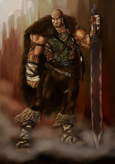 A large stocky male humanoid with an enormous sword.