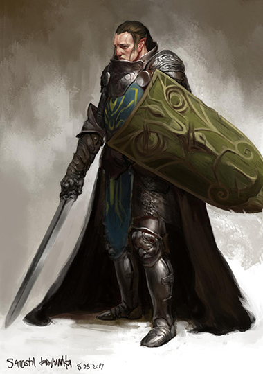 A male warrior in heavy armor with a shield and sword. Artwork credit https://www.deviantart.com/toshi13go/art/Momento-of-the-woodlands-700806219