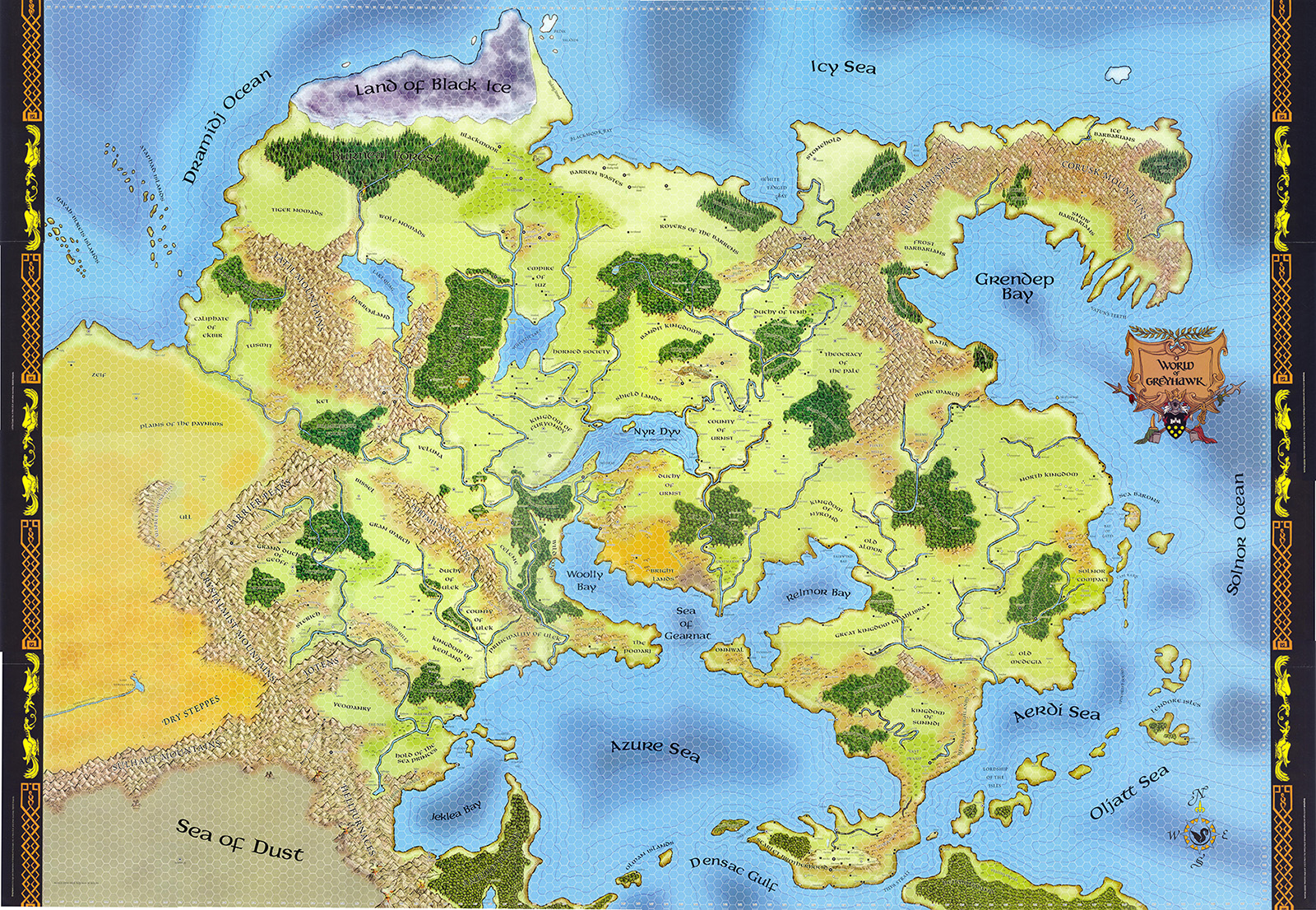 Map of the World of Greyhawk fantasy game setting.