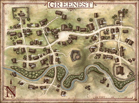Map showing the town of Greenest.