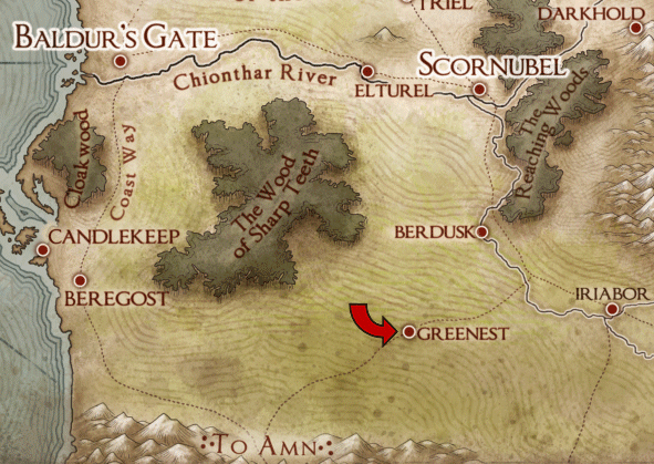 Map showing the Greenfields.