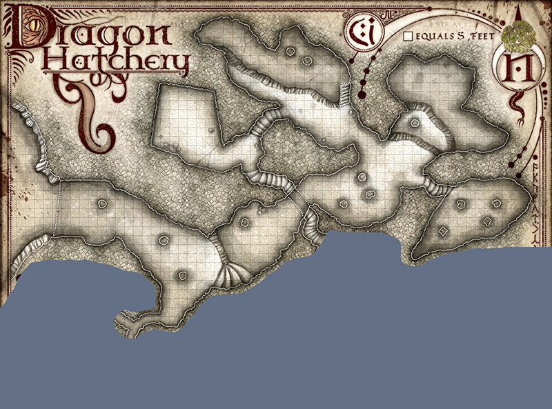 Map showing the discovered areas in the dragon hatchery during the fourth game session.
