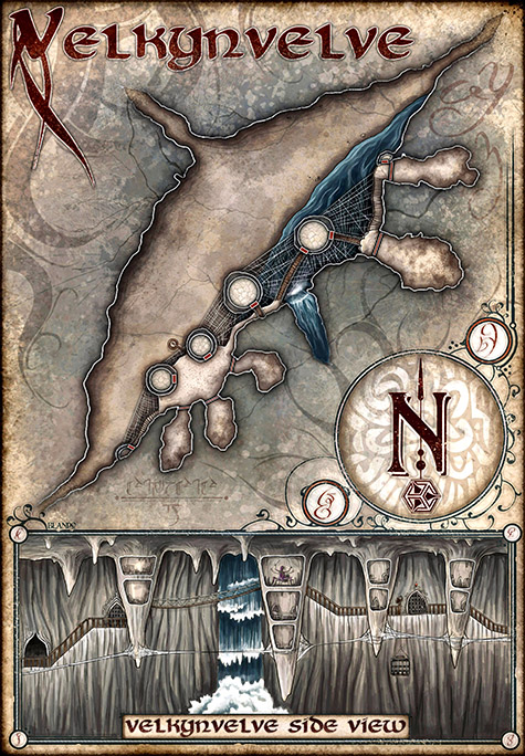 Map showing the Drow outpost of Velkynvelve, a serious of caves high up in the wall of a large cavern.