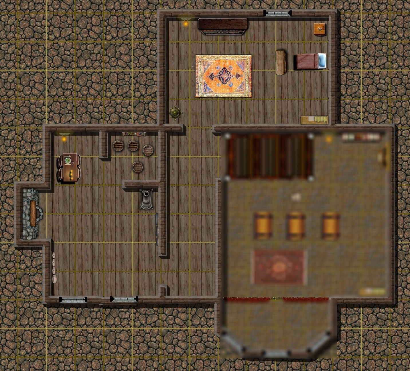A map of the upper floor of Ghelve's locksmith shop.